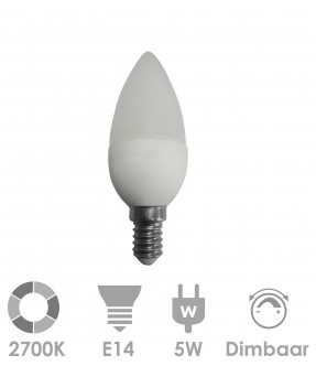 E14 LED 5W Warm wit - dimbaar