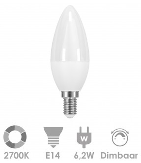 E14 LED 6,2W Warm wit kaars - dimbaar